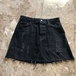 GRLFRND EVA A-FRAME Jean SKIRT Black Size 26
